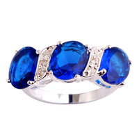 Endearing Classic Style Women Men Fashion Jewelry Blue Sapphire Quartz 925 Silver Ring Size 6 7 8 9 10 Wholesale Free Shipping