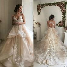 SexeMara Light Wedding Dresses with V-Neck Backless