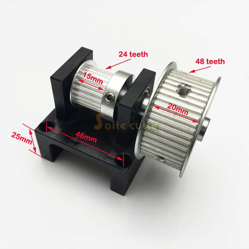 XL ( 2:1 ) Timing Belt Pulley Teeth ( 24 : 48 ) DIY Laser CNC Router Engraving And Cutting Machine Free Shipping