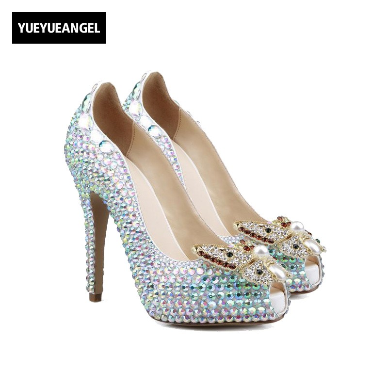 New Arrival Women Dress Shoes Peep Toe Slip On Comfort For Women Crystal Decoration High Heel Shoes Lady Paty Nightclub Pumps