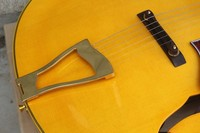 Free Shipping new arrival Factory Custom L5 Jazz yellow electric guitar with Golden hardware Ebony fingerboard 1027