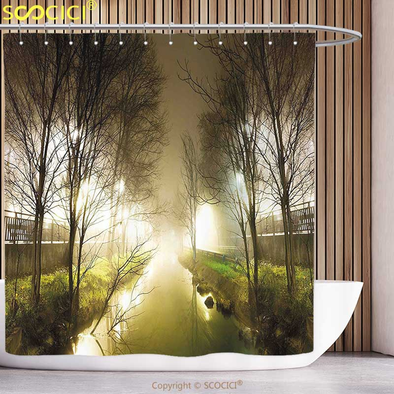 Polyester Shower Curtain Forest Water Channel Foggy Weather Trees