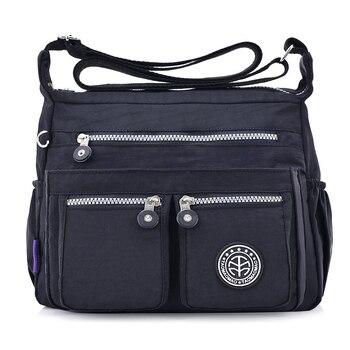 e60f17fbf40 2019 nuevo sólido mallas de senhora ligero nylon mujeres bolsos negro  Casual Lday hombro Bolso pequeño bandolera