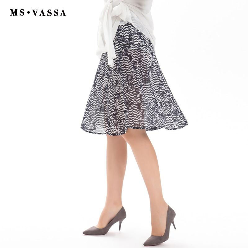 MS VASSA Lower price Clearance Sale Women Skirts Summer A-Line Chiffon Ladies thin Skirt vintage flower print