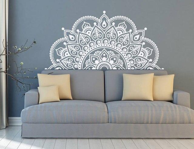 Vinyl Decal Dán Tường Nửa Mandala Tường Bức Tranh Tường Tập Yoga Người Yêu Tặng Nhà Đầu Trang Trí Nửa Mandala Thiết Kế Cửa Sổ Xe Dán MTL04