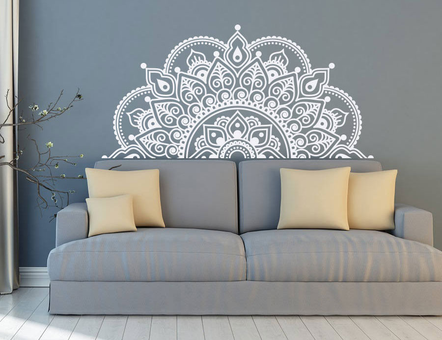 Vinyl Wall Decal Half Mandala Wall Mural Yoga Lover Gift Home Headboard Decor Half Mandala Design Car Window Stickers MTL04-in Wall Stickers from Home & Garden