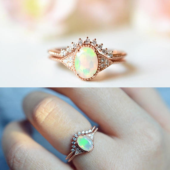 Engagement Rings Wedding & Engagement Jewelry Buy Cheap Rose Gold Color Opal Cubic Zirconia Rings For Women Shining Big Opal Jewelry Two-layer Engagement Wedding Rings Set
