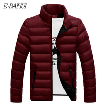 E-BAIHUI Mens Casual Wild Solid Color parkas Long-sleeved Men Jacket Fashion Tidel Zipper Windproof Cotton Baseball Jackets G021