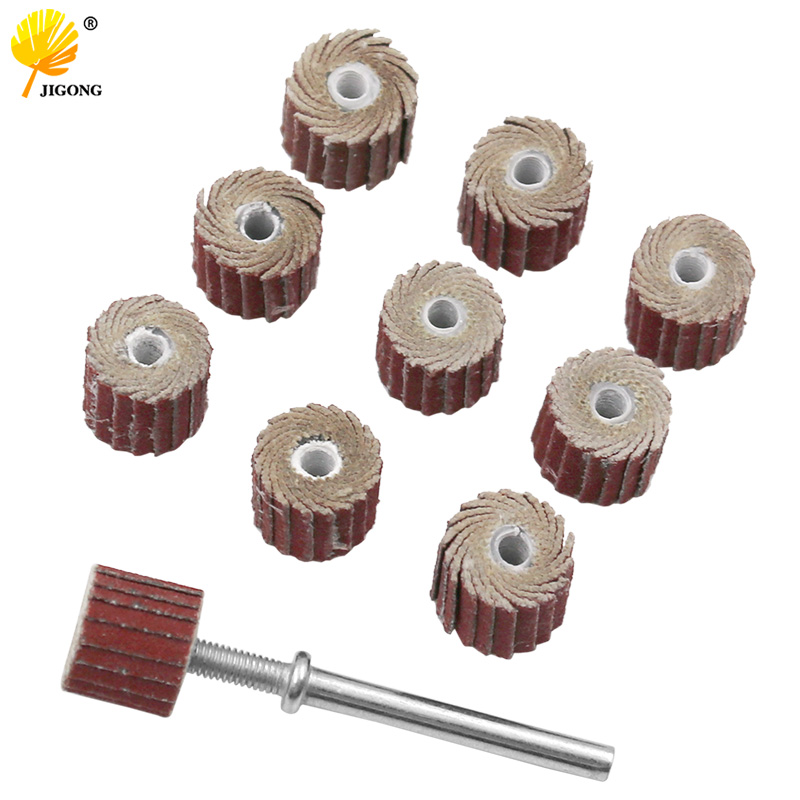 10pcs Accessories 240-Grit Sanding Flap Disc Grinding Sanding Flap Wheels Brush Sand Rotary Tool 10x10x3mm + 1pc Rod