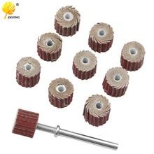 10pcs Accessories 240-Grit Sanding Flap Disc Grinding Sanding Flap Wheels Brush Sand Rotary Tool 10x10x3mm + 1pc Rod