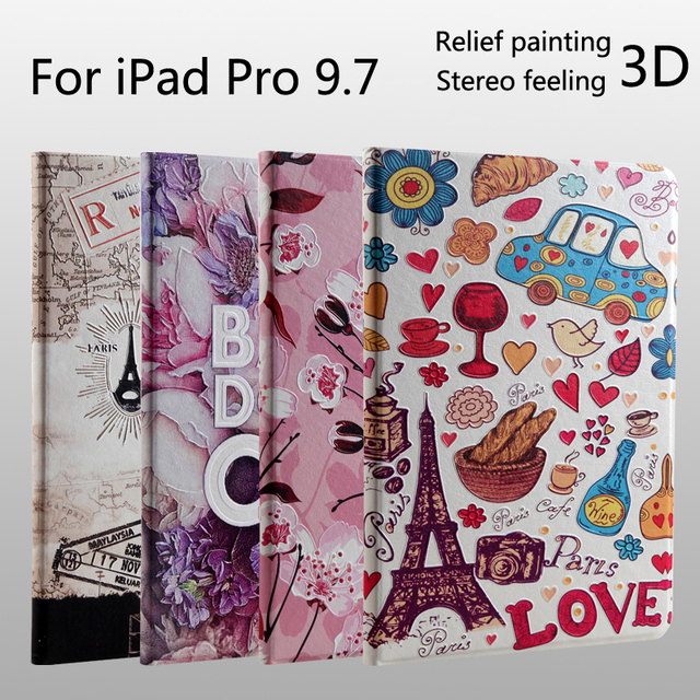 For iPad Pro 9.7 High quality Fashion 3D relief Embossing painting leather cover case + Film + Stylus
