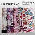 Para ipad pro 9.7 moda repujado relieve 3d pintura de alta calidad de cuero caso de la cubierta + film + stylus
