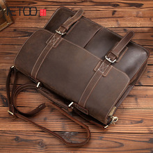 AETOO Retro Crazy Horse leather handbag shoulder bag leather leisure briefcase first layer of leather business computer bag