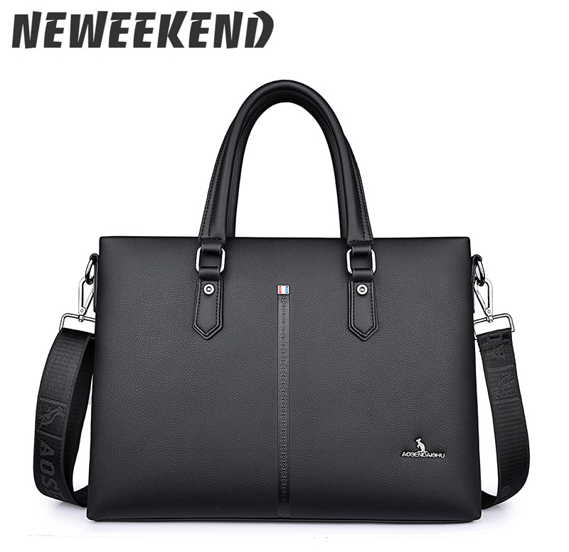 Business Solid Color Men Briefcases Luxury Brand Mens Laptop Bag Fashion Large Male Shoulder Bags Bolsa Masculina D 001