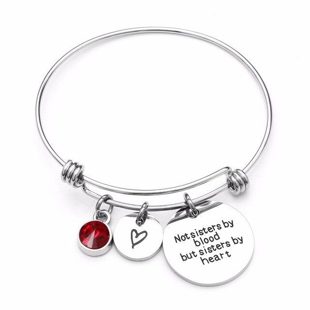 Best Friend Birthday Gift Birthstone Charm Bracelet for Women Stainless Steel Friendship Bangle Bracelet with Quote Sister