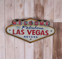 Neon Sign decorative painting Las Vegas style wrought iron wall decoration illuminated welcome sign hanging LED metal signs