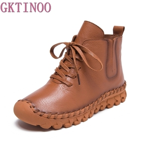 Image 1 - Genuine Leather Shoes Women Boots 2020 Autumn Winter Fashion Handmade Ankle Boots Warm Soft Outdoor Casual Flat Shoes Woman