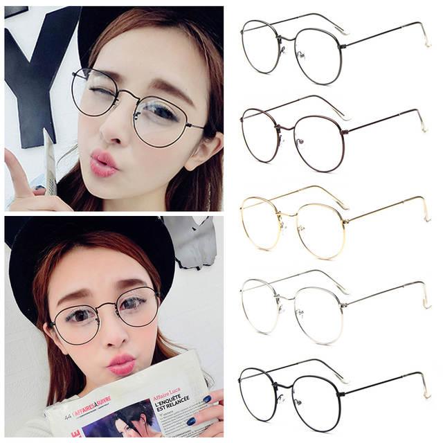 1bf644ff60f placeholder Fashion Vintage Women Eye Glasses frames Plain Mirror Clear  Lens Harajuku big Metal oval frame glasses