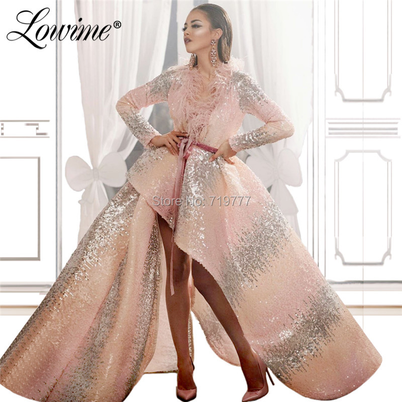 Abendkleider Sequined V Neck Arabic   Evening     Dresses   Feather Couture Pink And Silver Long Prom   Dress   Turkish Formal Party Gowns