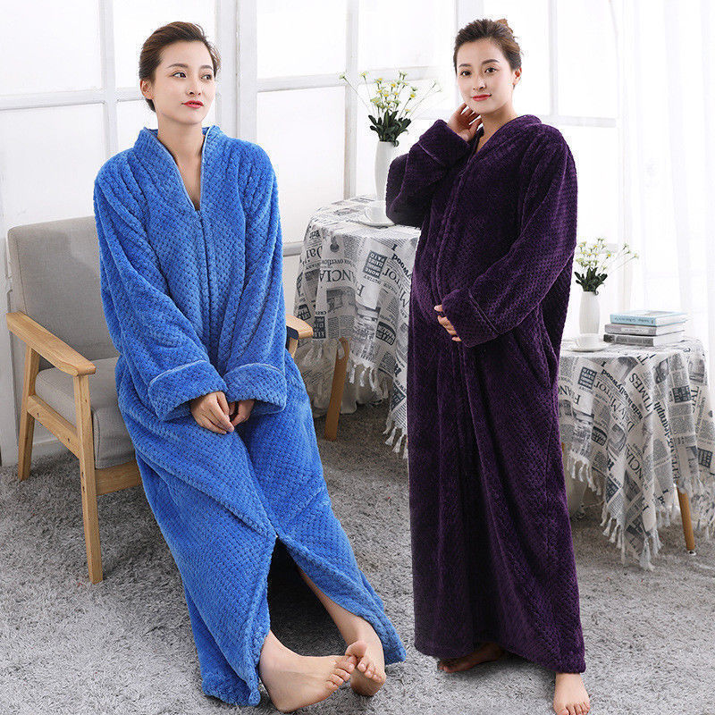 6df47cfc1b New Ladies Soft Feel Cozy zip up Long dressing gown Bath robe cover up housecoat  Fleece Dressing Gown Robe for women M-XXL