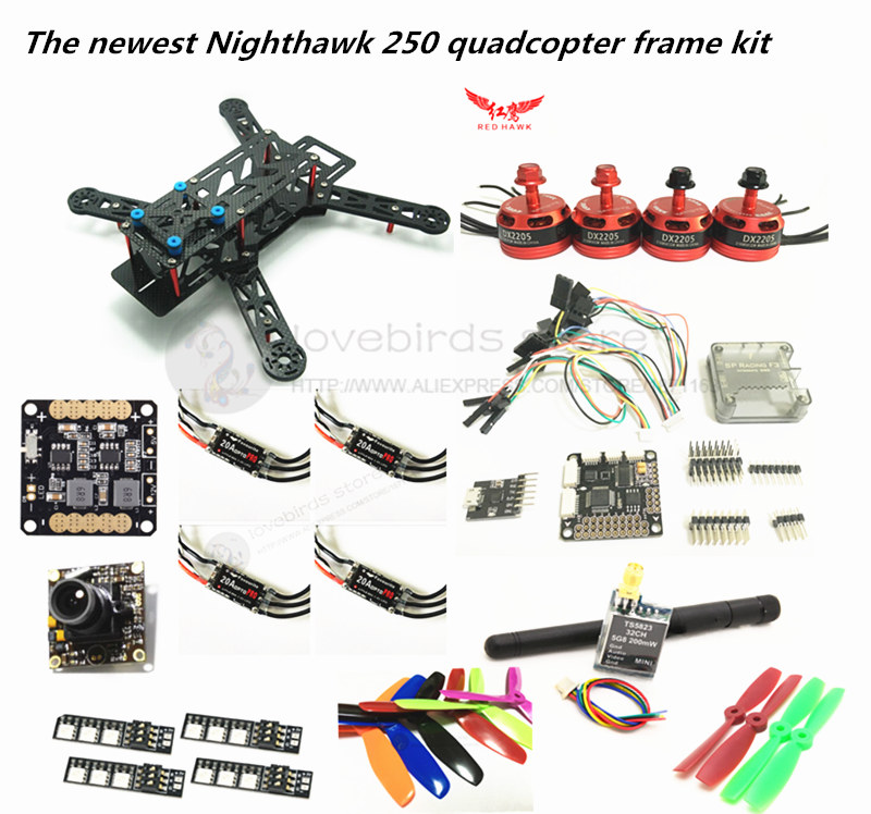 DIY FPV mini drone RED HAWK Nighthawk 250 frame kit DX2205 KV2300 + BL20A ESC 2-4S OPTO + SP racing F3 with OSD + 700TVL WEBCAM diy mini drone flight control kit sp racing f3 mini m8n gps cf osd holder for qav250 robocat270 nighthawk 250 quadcopter