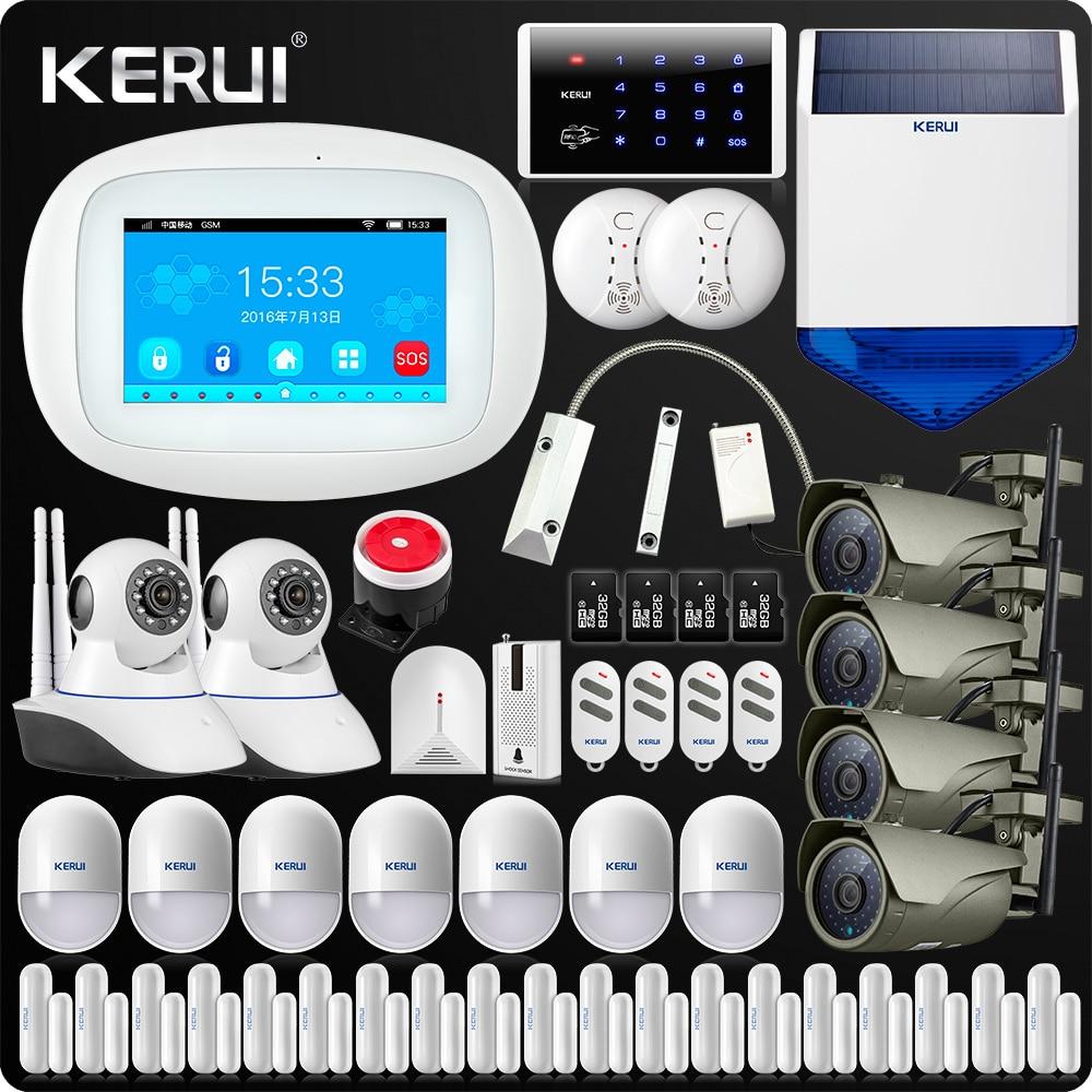 KERUI 4.3 Inch TFT Color Screen Wireless Security Alarm WIFI GSM Alarm System APP Control Keypad Wifi Camera Solar Siren Smoke