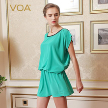 VOA 100% Silk Short Sleeve Women Shirt Loose O Nexk Butterfly Long Tops B1112