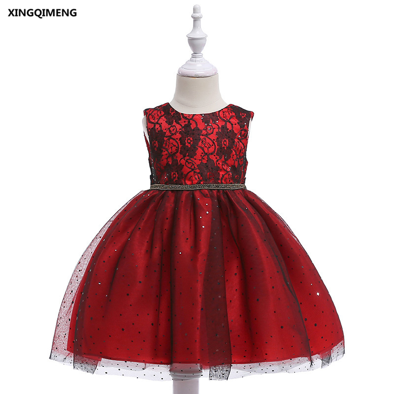 In Stock Lace Sequined Red Flower Girl Dresses 3 10y Wedding Party Formal Dress For Little Girls