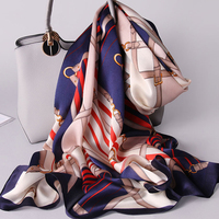 Women 100% Real Silk Scarf 2019 New Luxury Print Shawls and Wraps for Ladies Neckerchief Scarf Silk Pure Natural Silk Scarves