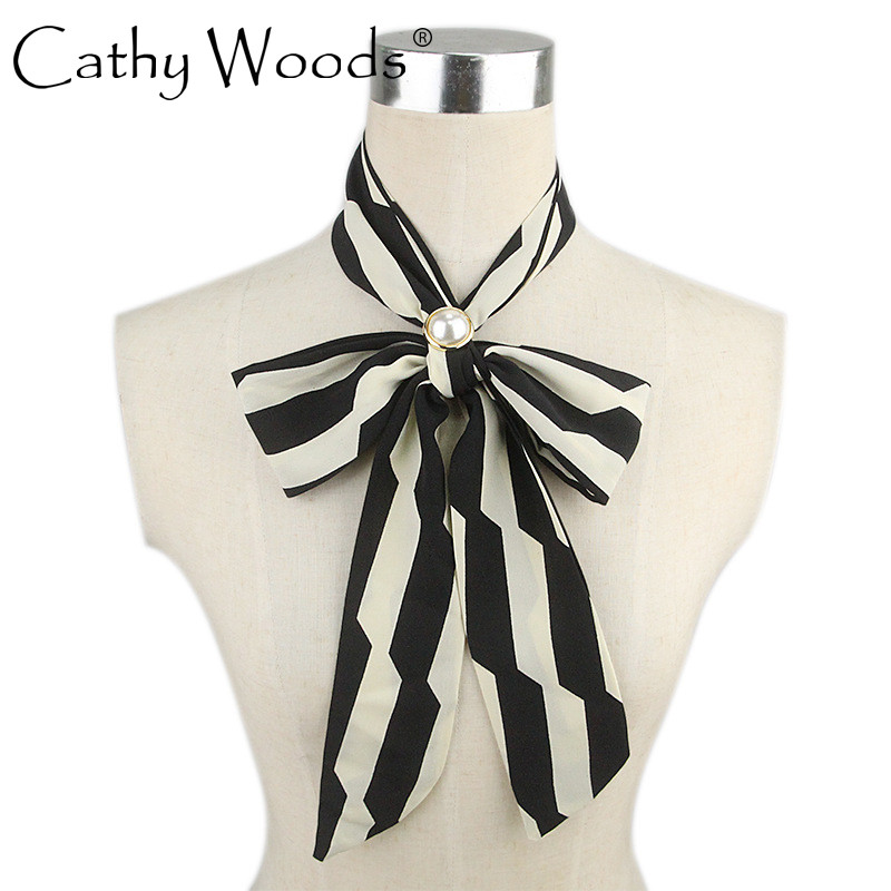 CW Imitation Silk Chiffon Long Striped Scarf Striped Plaid Striped Striped Belt for Women Work 140 * 6CM