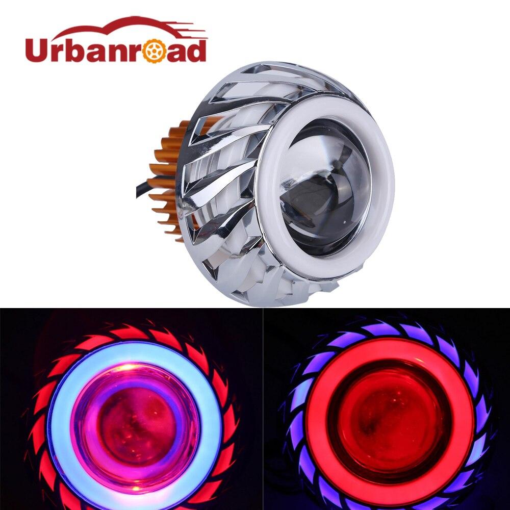 Universal Motorcycle Led Headlight Head Light HI/Lo Beam Round Angel Devil Eye Led Headlamp Projector Motors Accessories