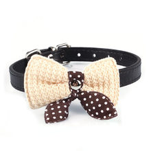 Adjustable Knit Bowknot PU Leather Dog Puppy Pet Collars Necklace Vest Harness for Dogs Pets Collar Pets Chest Strap Leash(China)