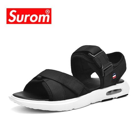 SUROM Summer Beach Flats Sandals Men Shoes Casual Outdoor Fashion Comfortable Lightweight Gladiator Sandals for Men Black New Karachi