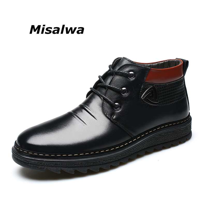 Misalwa Men's Slip-on Classical Snow Boots || Soft Lightweight Warm wool winter Anti-slip Water Weatherproof Construction sole