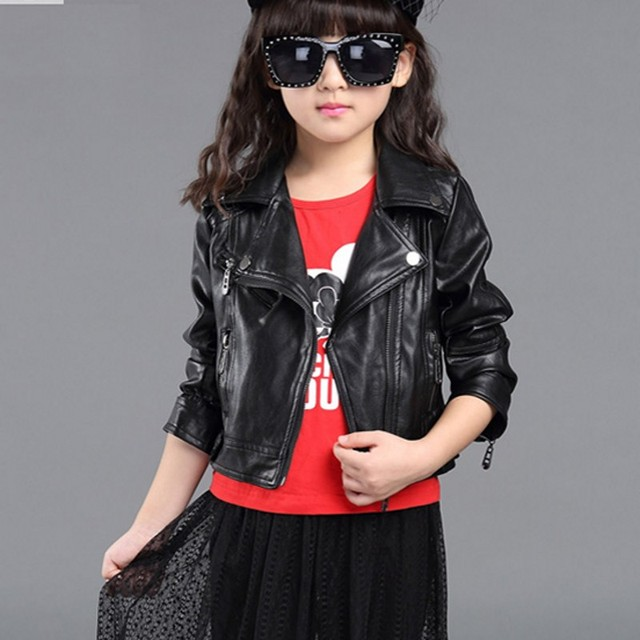 New Kids Leather Jacket Girls Coat Turn down Collar Black pink ...