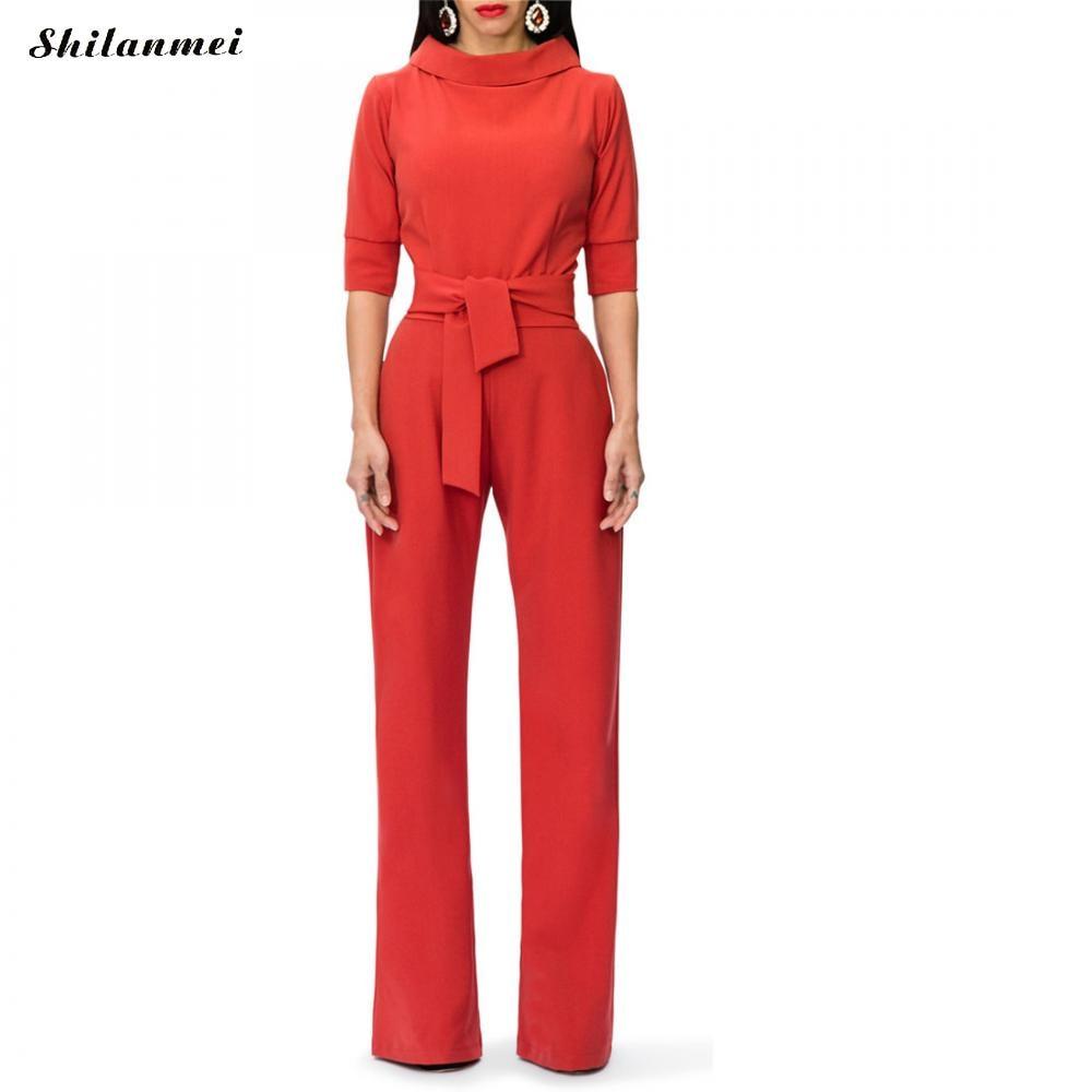 2018 Romper Long Women Bowknot Bandage Jumpsuit Elegant Slim Brief Winter Jumpsuit Work Office Business Long Pants Playsuit Set