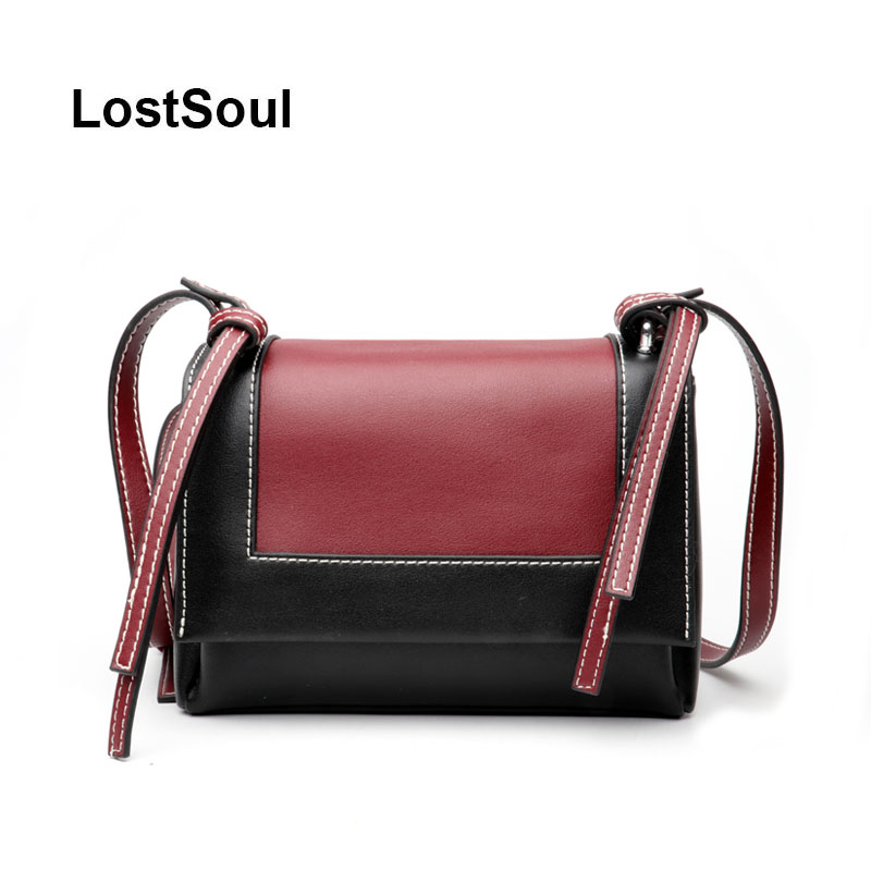 29459fb005e0 LostSoul brand split leather bag Panelled female daily crossbody bags  ladies shoulder bags designer luxury cowhide Sac a main-in Top-Handle Bags  from ...