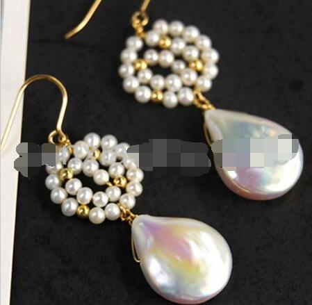 Hot sale Free Shipping>>>>new white reborn keshi baroque South Sea Pearl earrings 14 gold knit hasbro пони с блестками my little pony b0357 b3222