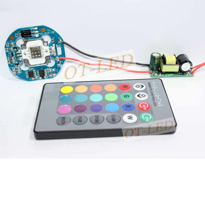 4-in-1 10W RGB SMD LED light Lamp + Dimmable IR Controller Board + 24 key Remote + AC 110V~220V or DC 12V LED Driver 10w rgb underwater lamp w 24 key remote controller black