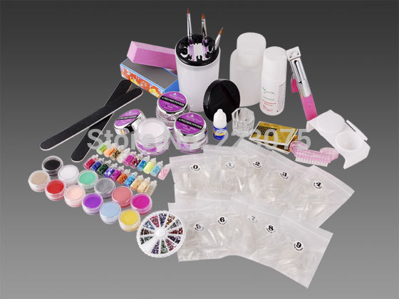 Hot 12 Colors Acrylic Color Powder With Nail Tips / Brush / Glitter Manicure Full Set