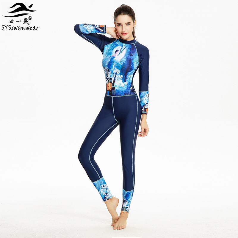 Hot High Quality Zipper & Long Sleeves Surfing Women One Pieces Swimwear Character Patchwork Swimsuit Hot Sport Bathing Suit
