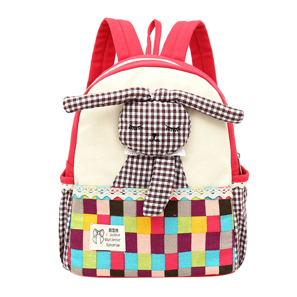 Kids Gift Hot Sale Baby Girls Kids Cute Rabbit Pattern Plaid Animals Backpack Toddler School Bag New Design Girls Bookbag fashion toddler girls baby american flag pattern cute rabbit ears headband