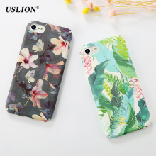 USLION Fashion Flower Leaves Paint Phone Case For iPhone 7 Plus Frosted Hard PC Cases Back Cover Capa Coque For iPhone7 Plus