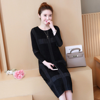 Spring Autumn Plaid Dress Loose Black Kleider Damen Kaftan Long Sleeve T Shirt Dress Plus Size Women Clothes 2018 C0142F