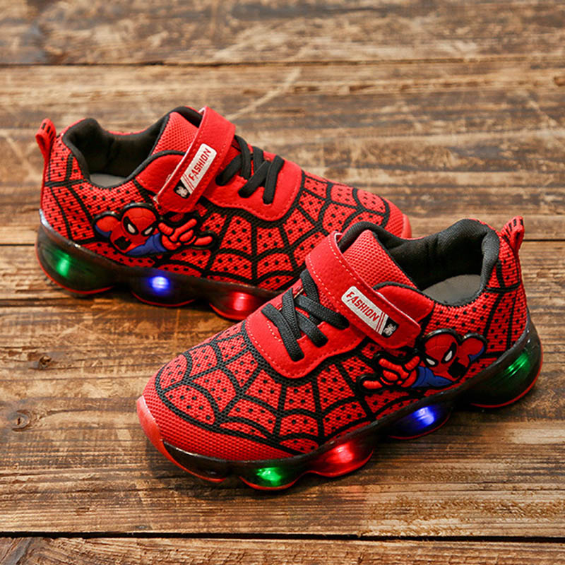 Fashion Spider Man Kids Shoes With Light Air Cushion Damping Children Luminous Sneakers Boy Girl