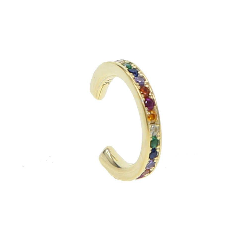 Clip-on brincos sem piercing não piercing earcuff orelha clipe brincos sem piercing 925 prata esterlina com arco-íris cz manguito