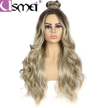 USMEI synthetic wig long blonde Body Wave for white women Ombre dark root to lighter brown 28inches high temperature hair piece
