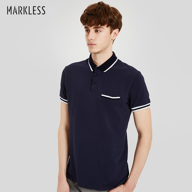 e6104cbfb3 Markless Polo Shirt Men Cotton Comfortable Short Sleeve Polo Shirts Fashion  Brand Clothing 2018 Summer Navy Blue Polo TXA7616M