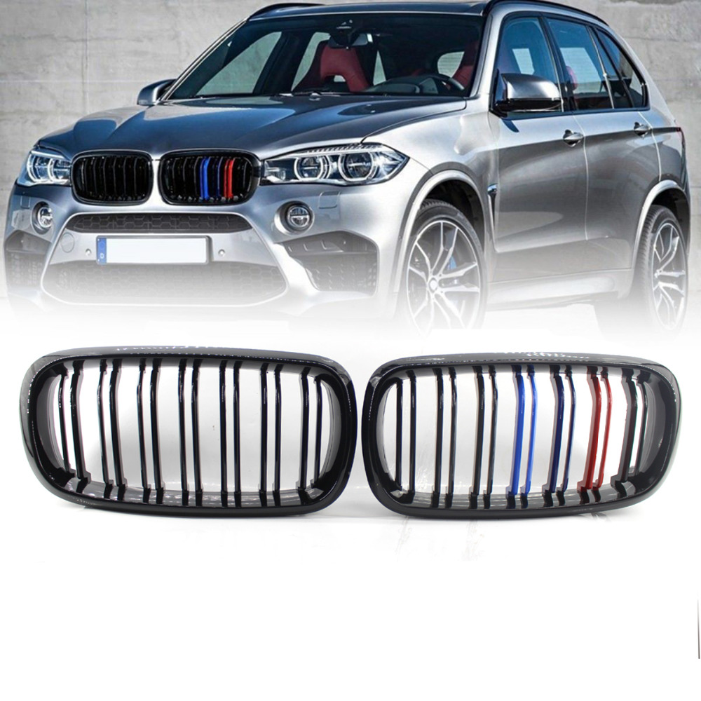 For 2014-2017 BMW F15 F16 X5 X6 F85 X5M Front Gloss Black M-Color Grill Grille x5 x6 m performance sport design m color front grill dual slat kidney custom auto grille fit for bmw 2015 2016 f15 f16 suv