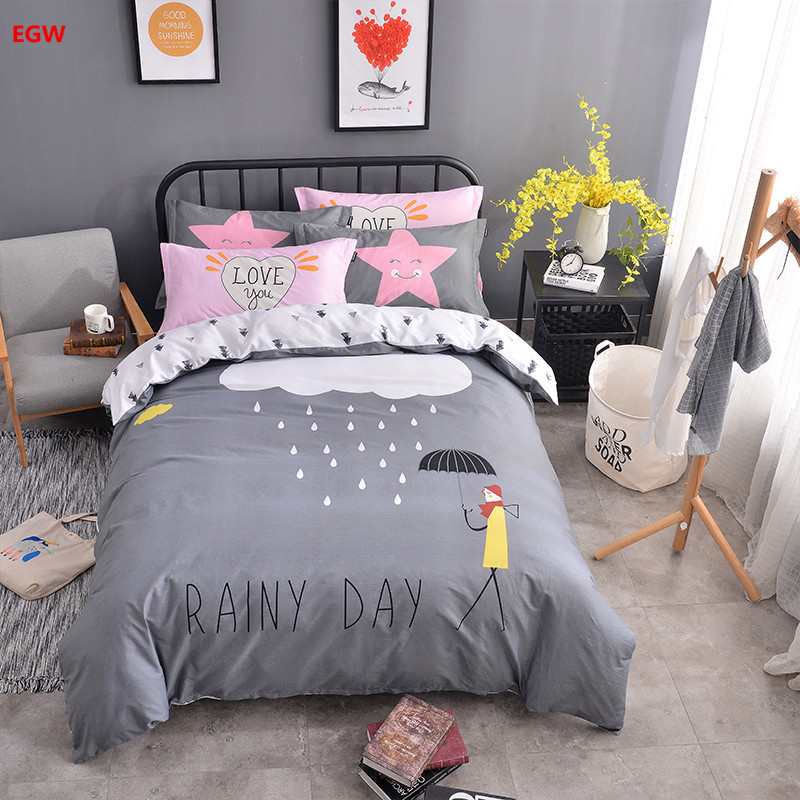 100%cotton bedding set gray rainy day star duvet cover queen twin pillowcase bed linen cartoon kids gift bedding home textile ...
